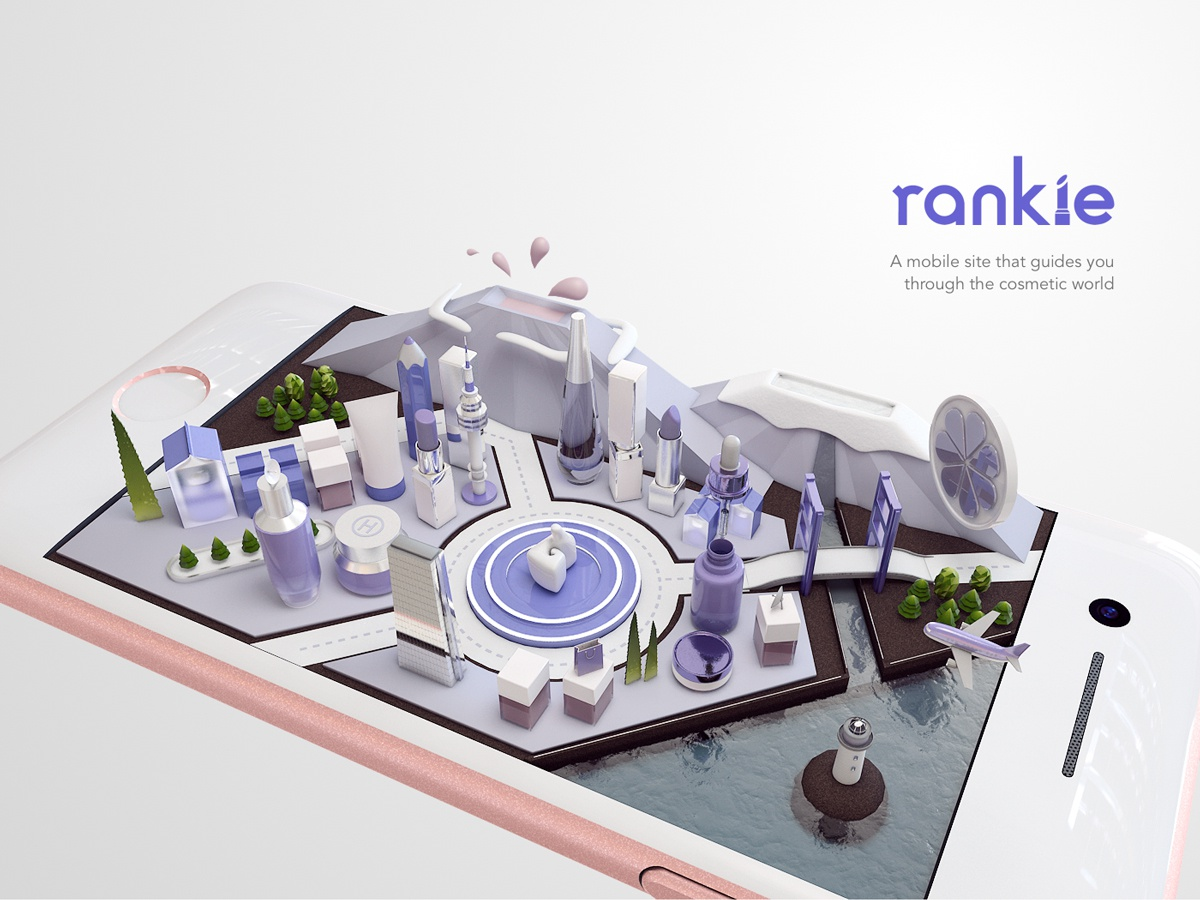 Rankie - a small cosmetic world thumb up rankie render illustration isometric purple iphone makeup cosmetics city c4d 3d