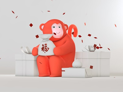 A red monkey fortune pocket new year character illustration clay red monkey c4d 3d