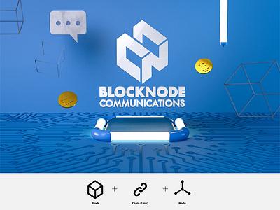Logo Design-Blocknode Communication blue abstract block node hexagon crypto currency cinema 4d communications bitcoin logo blockchain
