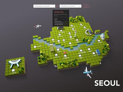 Brief Tourist Attraction Map of Seoul green korea isometric tourist 3d seoul map ui ui deisgn