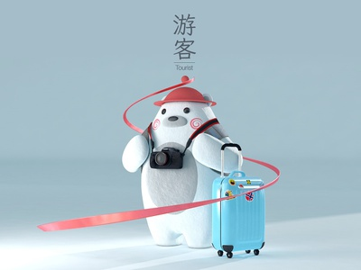 Tourist Nori Bear nori korea travel backpack camera luggage bear character tourist render 3d illustration