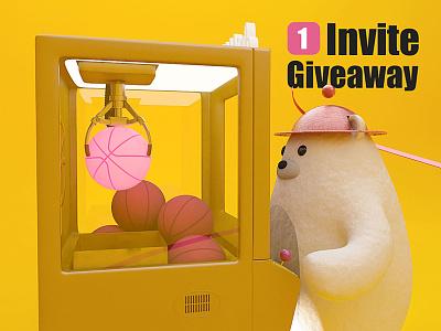 Dribbble Invite giveaway invitation 3d claw machine yellow draft invite