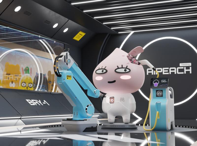 AiPeach maintenance sci-fi cyberpunk kakao friends apeach charger robotic arm character render 3d