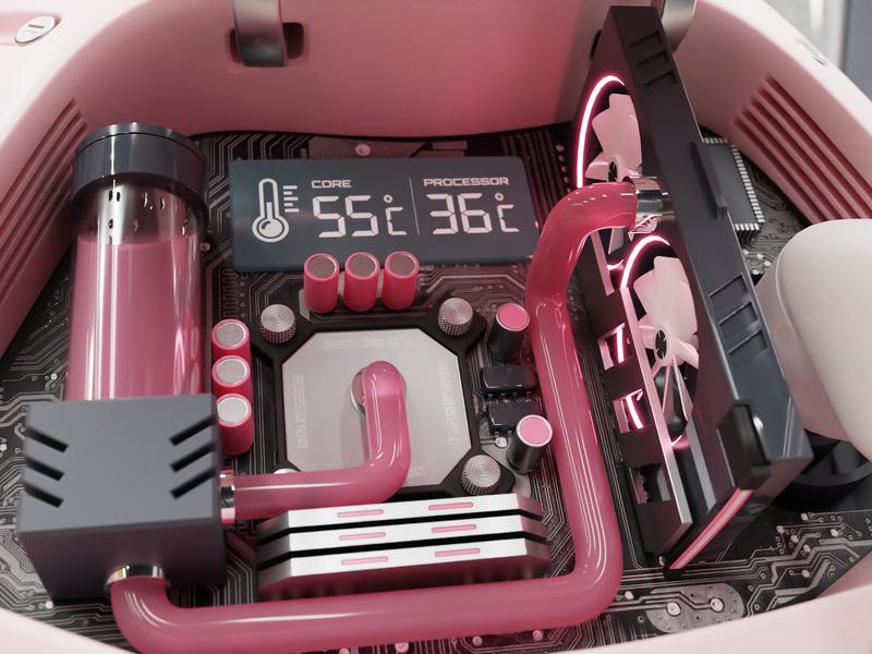 AiPeach Processor pink robotic head motherboard processor circuit cyberpunk kakao friends 3d