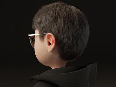 Chubby Cheeks-Boy (Back) 3d cheek chubby hoodie black glasses boy character