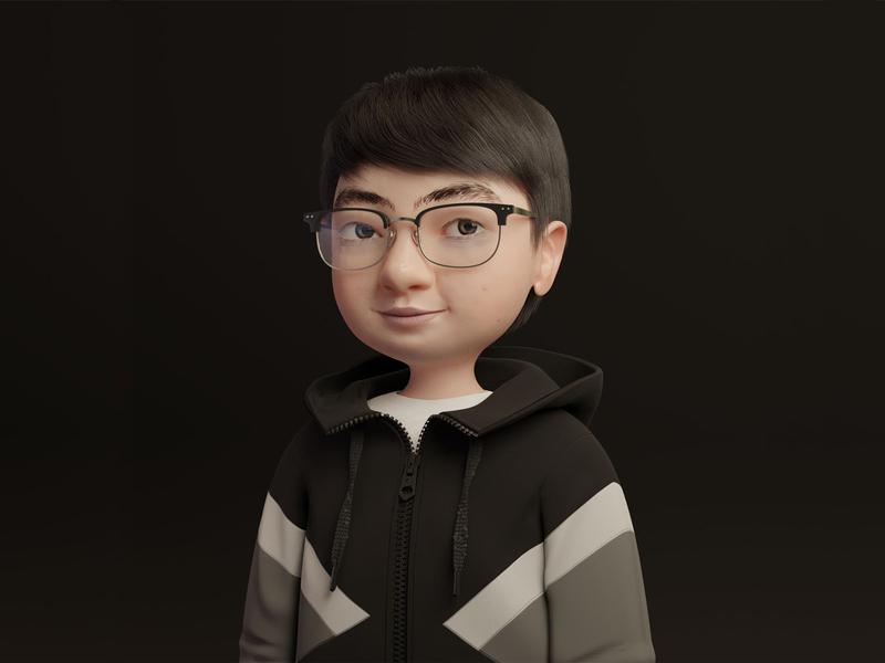 Chubby Cheeks-Boy portrait glasses hoodie character design black avatar boy 3d