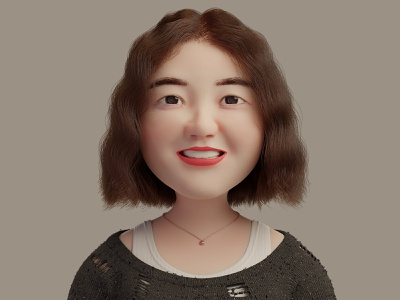Chubby Cheeks-Girl smile girl curly hair 3d avatar portrait tank top sweater necklace design character