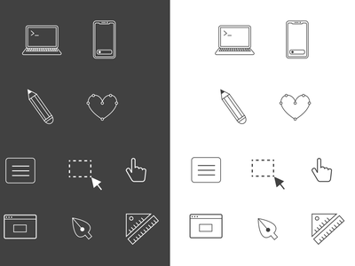 Custom icon set for personal portfolio website vector illustration vector art ui icons design icons pack iconography icons icon set