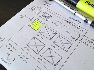 wireframe sketch wireframe marker pen photo website tilted paper concept