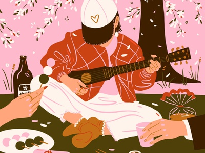 Hanami spring 花見 sakura かわいい 日本 kawaii pink guitar shochu beer mochi procreate illustration japanese culture japanese food music cherry blossom japan hanami