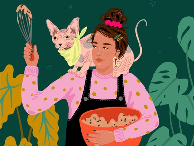 Quarantine Kitchen figure portrait procreate illustration monstera hairless cat cat dough cookie dough cookies bread bake baker baking