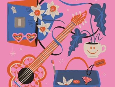 Coach Social Media daffodils houseplant plant smile music guitar happy positive sunglasses fashion coach procreate design illustration