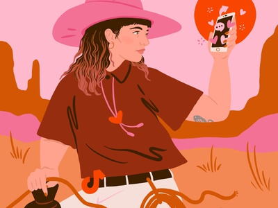 TikTok: The Wild West self portrait social media tiktok iphone wild west ipad art woman portrait procreate design illustration