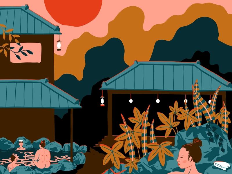 Onsen procreate animation illustrator japanese travel blog travel bathing onsen japan illustration