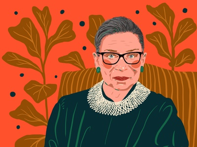 Ruth Bader Ginsberg glasses fiddle leaf editorial art editorial illustration drawing ginsberg ruth bader politics illustration