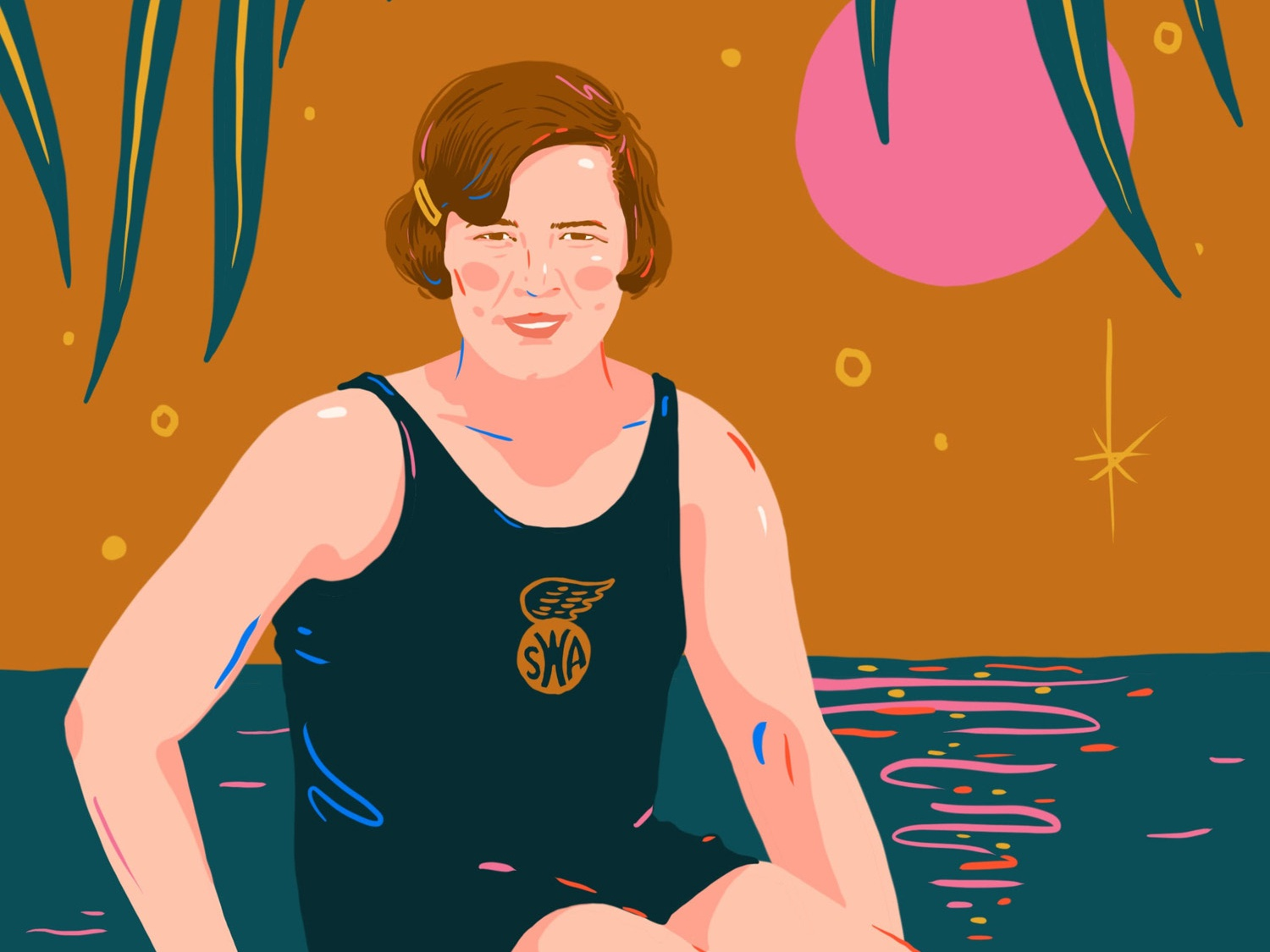 Gertrude Ederle vintage woman editorial water olympics swimmer pink mustard design illustration english channel swimming