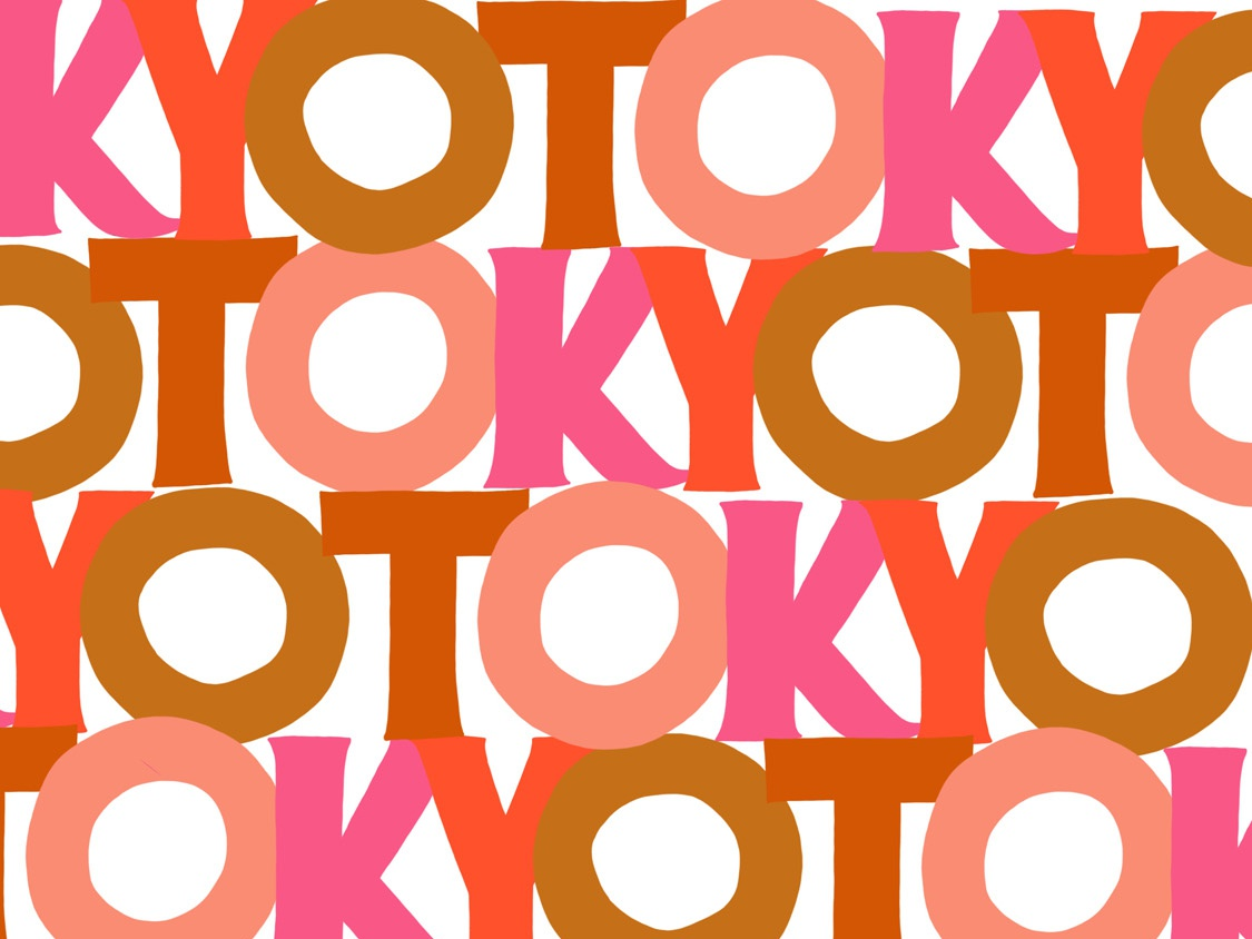 Tokyo Kyoto kyoto tokyo pattern travel ochre pink handletter design lettering typography illustration