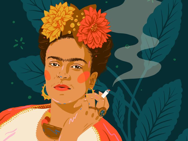 Frida Kahlo portrait digital art frida mexican woman feminist illustration frida kahlo