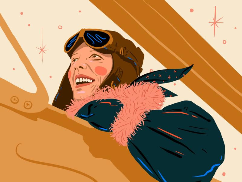 Amelia Earhart procreate flying woman illustration amelia earhart plane aviation inspiration woman illustration