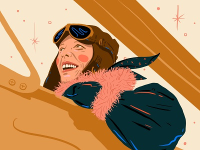Amelia Earhart procreate flying woman illustration amelia earhart plane aviation inspiration woman illustration