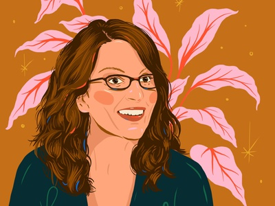 Tina Fey snl 30 rock digital art procreate app plant feminist woman female portrait illustration comedian tina fey