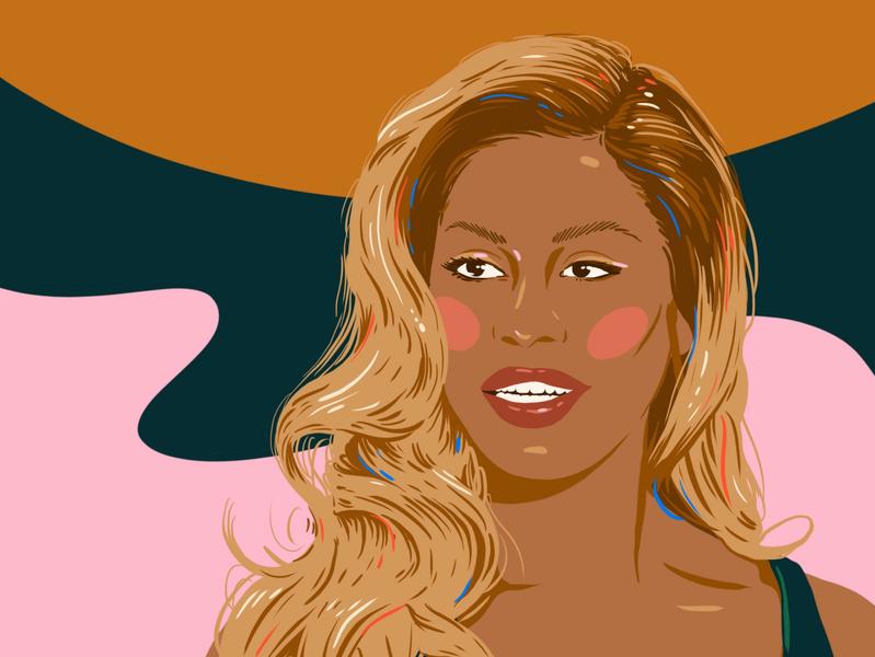 Laverne Cox woman procreate design portrait illustration