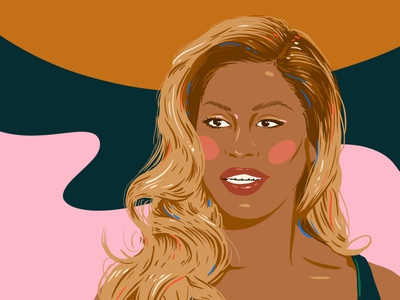 Laverne Cox woman procreate design portrait illustration