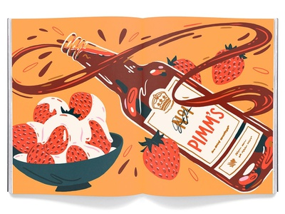Ambrosia Magazine package illustration packaging bottle cuisine menu restaurant strawberry beverage food magazine editorial illustration illustration editorial snacks british drink pimms