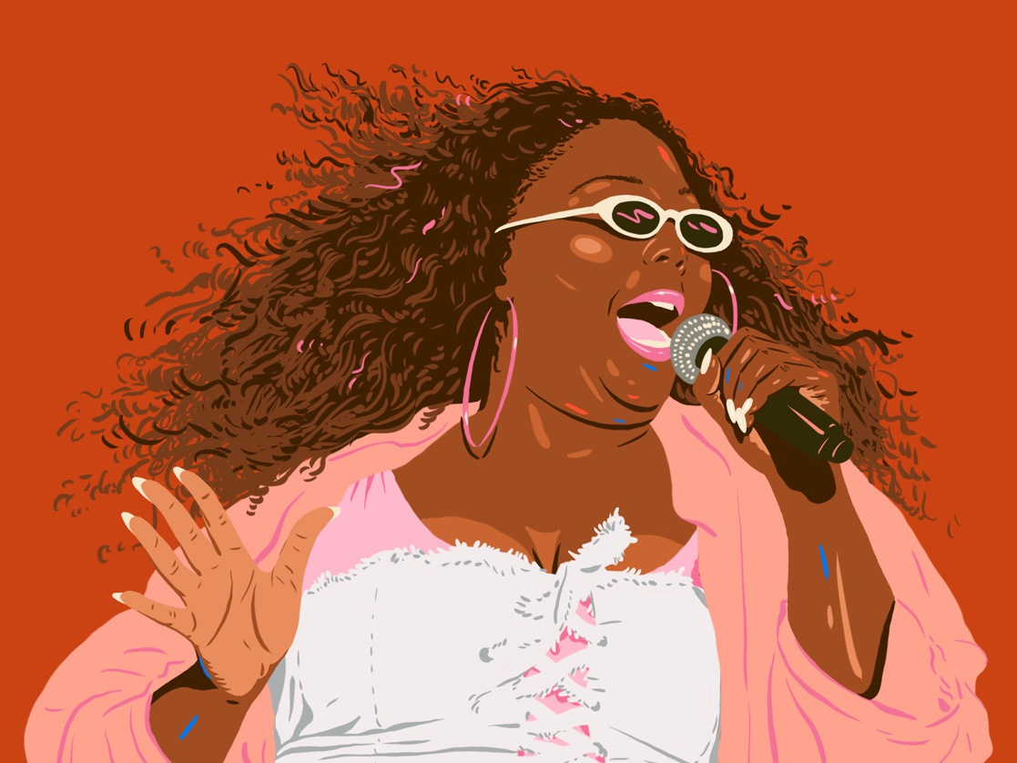 Lizzo album records record portrait musician music artist illustration wcw lizzo