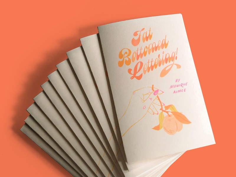 Fat Bottomed Lettering Booklets peach risograph risoprint riso booklet learn script handletter design lettering typography