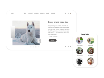 Website  landing page for Pets and thier accessories 😀