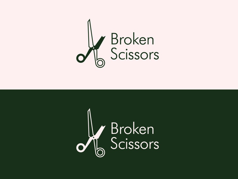 Broken Scissors Logo mark symbol minimalist typography branding icon logo design vector flat