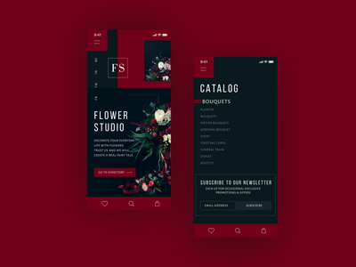 Flower studio mobile design mobile webdesign uiuxdesign uiux ux ui store shop flower color