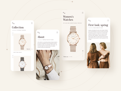Women's watches ecommerce website mobile design womens watches watch promo mobile uiux store webdesign shop