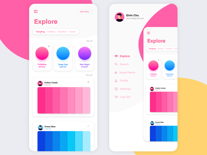 Color Sharing App ui flat design app minimal color palette concept colorful color