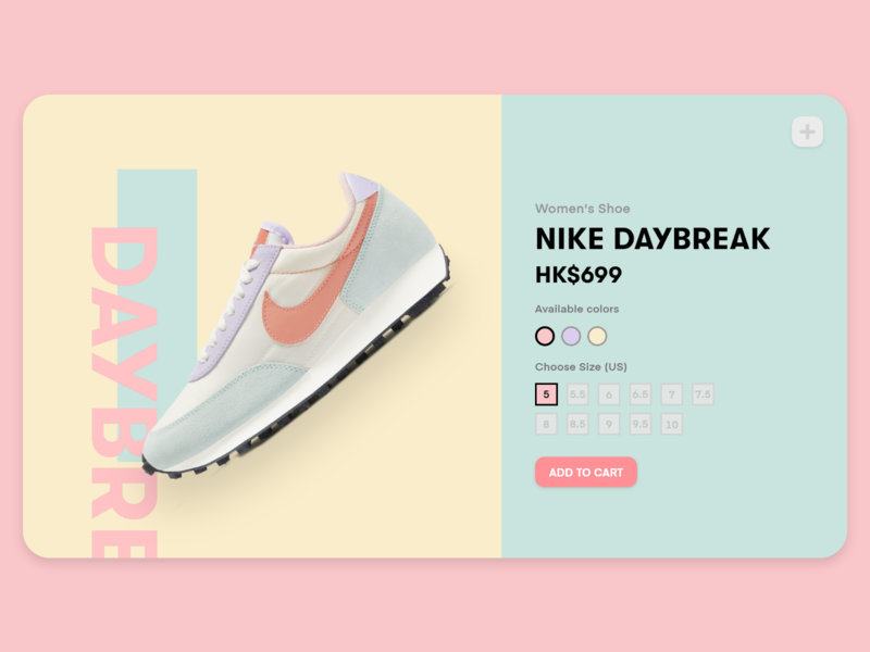 Nike Sneakers Website UI branding colorful color sneaker shoes design ui minimal flat