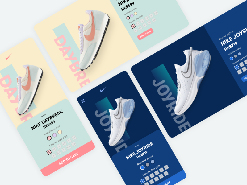 Nike Sneakers App Website UI nike shoes nike daily ui app dailyui color palette concept design colorful color minimal flat