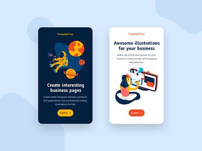 TemplateTwo - Mobile App Design illustraion mobile design mobile app design mobile ui mobile app agency design webdesign branding design agency ux ui illustration uxui