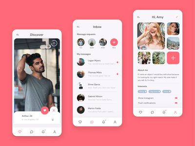 Matchy - Mobile app design datingapp typography app mobile ui beautiful mobile app design illustration agency mobile experience uxui dating app mobile app mobile branding ui ux design agency design