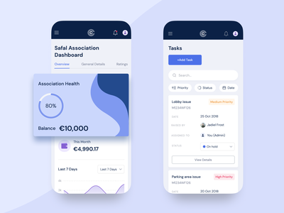 Clear Common - Managing app for building superintendents shapes blue user interface ui uxui animation typography beautiful mobile app branding agency ux ui design agency