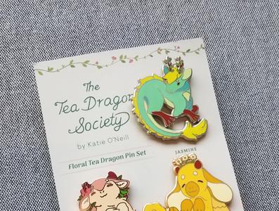 The Tea Dragon Society: floral teas enamel pin set