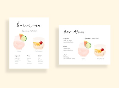 wedding bar menus