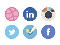 Social media icons with a softer palette