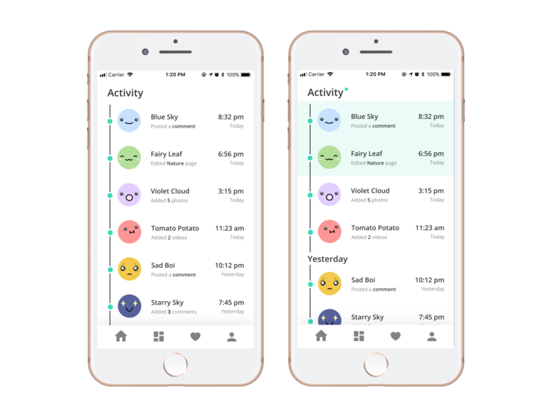 Daily UI Challenge - Activity Feed daily ui 047 iphone pastel activity notifications emotes emojis cute kawaii mobile design uxdesign uiux design dailyui
