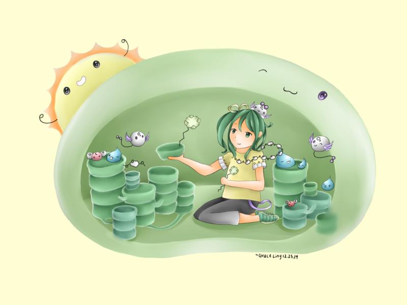 Chloroplast Friends painting illustration digital digital art nature plant biology chloroplast photosynthesis kawaii anime design plants pastel science art illustration art illustration biology