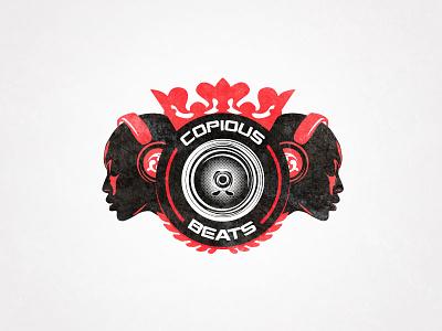 Copious Beats Logo logo music drum bass dnb heads female bald headphones