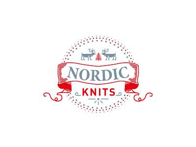 Nordic Knits - Team Badge badge christmas knit nordic knits wacky woolies illustration logo lines team