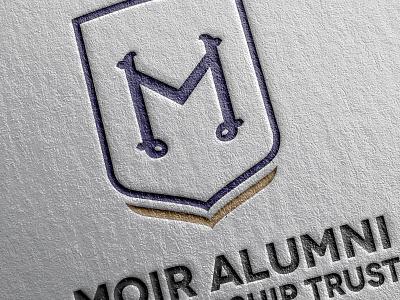 Moir Alumni Scholarship Trust logo scholarship trust crest book school letterpress