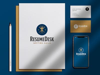 ResumeDesk Logo stationary gold navy blue fountain pen resume writing pen icon identity logo design brand design logo