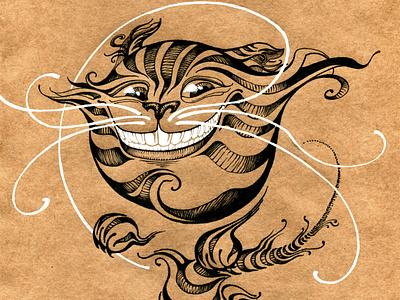 чеширский кот чеширский кот алиса графическая иллюстрация